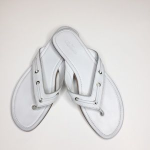 Faconnable White Leather Sandals